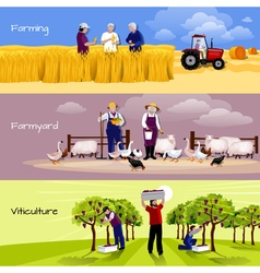 Vineyard farmyard crop harvesting flat banners vector