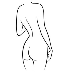 Graceful female figure with a view from the back vector