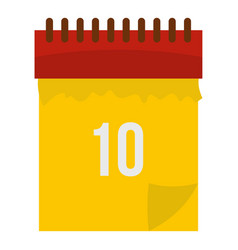 Yellow calendar with 10 date icon isolated vector