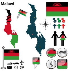 Malawi map vector
