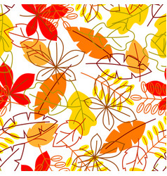 Seamless floral pattern with stylized autumn vector