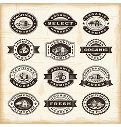 Vintage organic farming stamps set vector