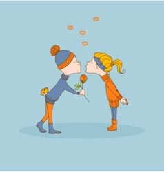 Boy and girl first kiss valentines day vector