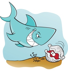 Cartoon shark and clam underwater vector