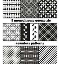 Set of black-white monochrome geometric seamless p vector