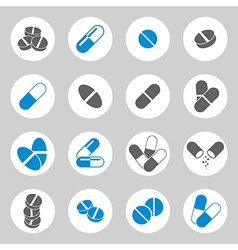 Medical pills icons set collection vector