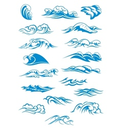 Blue breaking ocean waves vector