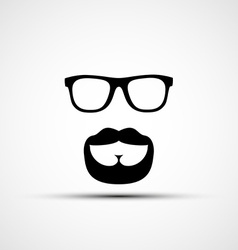 Glasses and a mustache with a beard isola vector