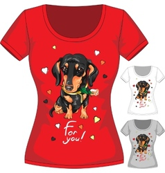 T-shirt with dachshund and flower vector
