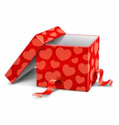 Cardboard box with hearts vector