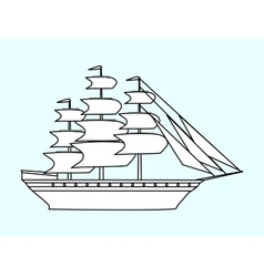 Sailing white ship frigate retro transport sea vector