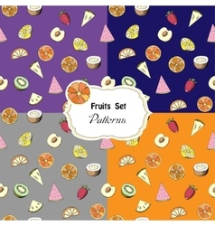 Set seamless patterns with fruits vector