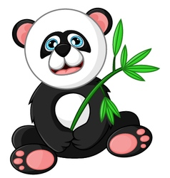 Cartoon happy panda holding bamboo vector