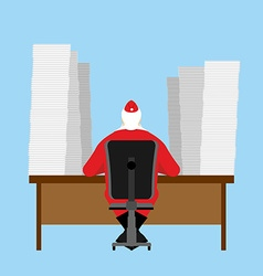 Santa claus reads letter many incoming vector