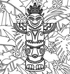 Doodle traditional tribal totem pole on plants vector