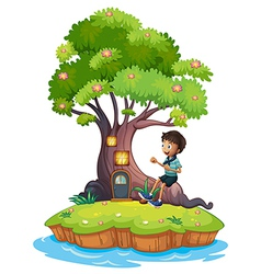 A boy sitting above the roots of a tree amazed by vector