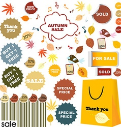 Autumn sale - set of stickers and labels vector image