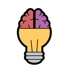 Bulb brain icon vector