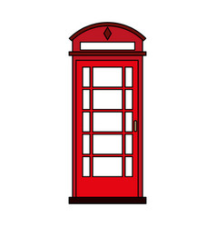 Colorful silhouette red london phone booth vector