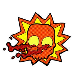 Comic cartoon halloween skull symbol vector