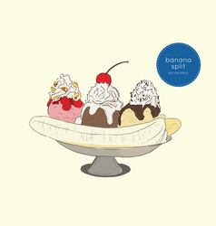delicious sweet banana split ice cream dessert vector image