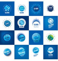 earth logo template globe sign vector image
