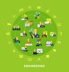 engineering icons round composition vector image