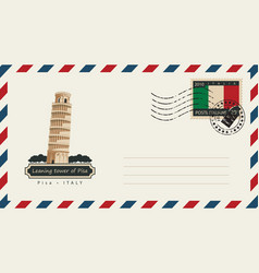 envelope with a postage stamp with pisa tower vector image vector image