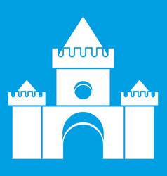 Fairytale castle icon white vector