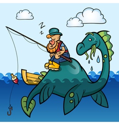 Fisherman and dinosaur vector