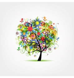 Floral tree summer for your design vector image