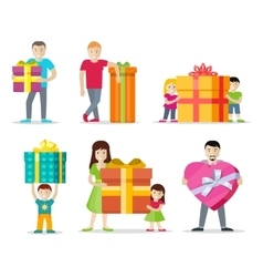 Happy peoples with gifts flat design set vector