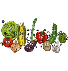 happy vegetables group cartoon vector image
