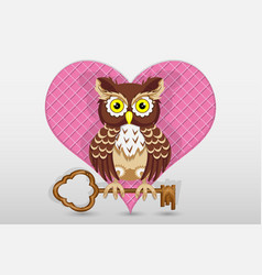 heart and owl holds the key to it valentines day vector image