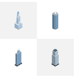 Isometric building set of cityscape tower vector