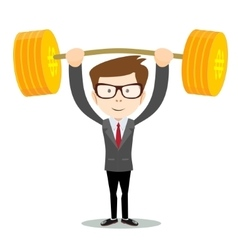 Man lifts up heavy barbell with dollar sign vector