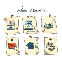 Online education sticker set vector