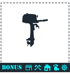 Outboard boat motor icon flat vector
