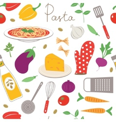 Pasta cooking seamless pattern vector