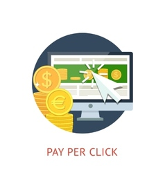Pay per click icon with pc and notebook vector