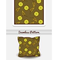 Pillow green floral pattern vector
