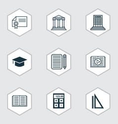 set of 9 education icons includes opened book vector image vector image