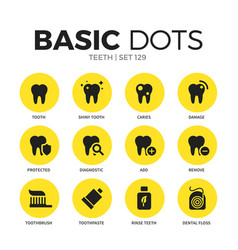 Teeth flat icons set vector