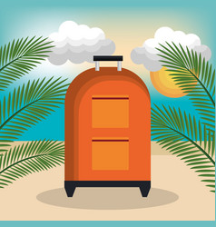 Travel bag summer beach vacation vector