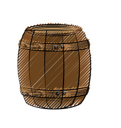 Wooden barrel icon vector