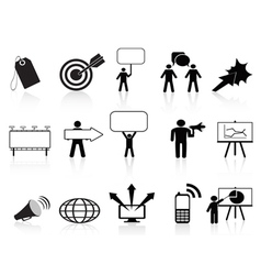 black marketing icons set vector image