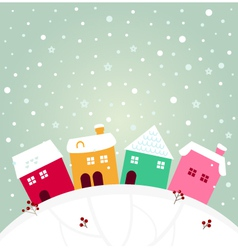 Colorful winter village on the top of hill vector