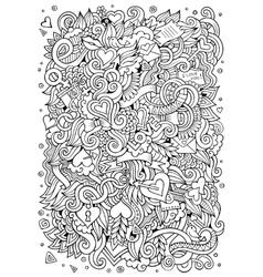 Cartoon hand-drawn love doodles sketchy vector