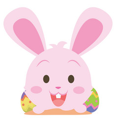 Easter bunny smile character collection vector