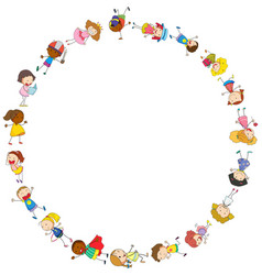 border template with happy kids in circle vector image
